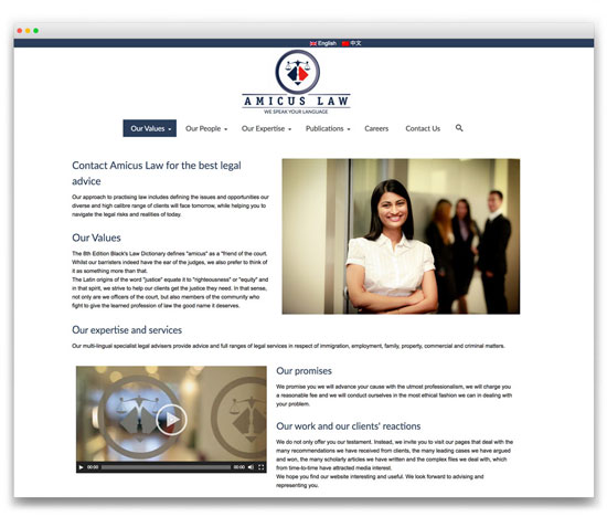 Amicus Law - Multi-ligual Responsive WordPress website