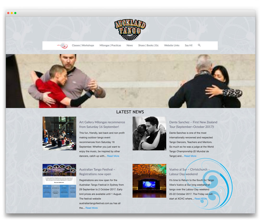 Auckland Tango - Responsive WordPress website