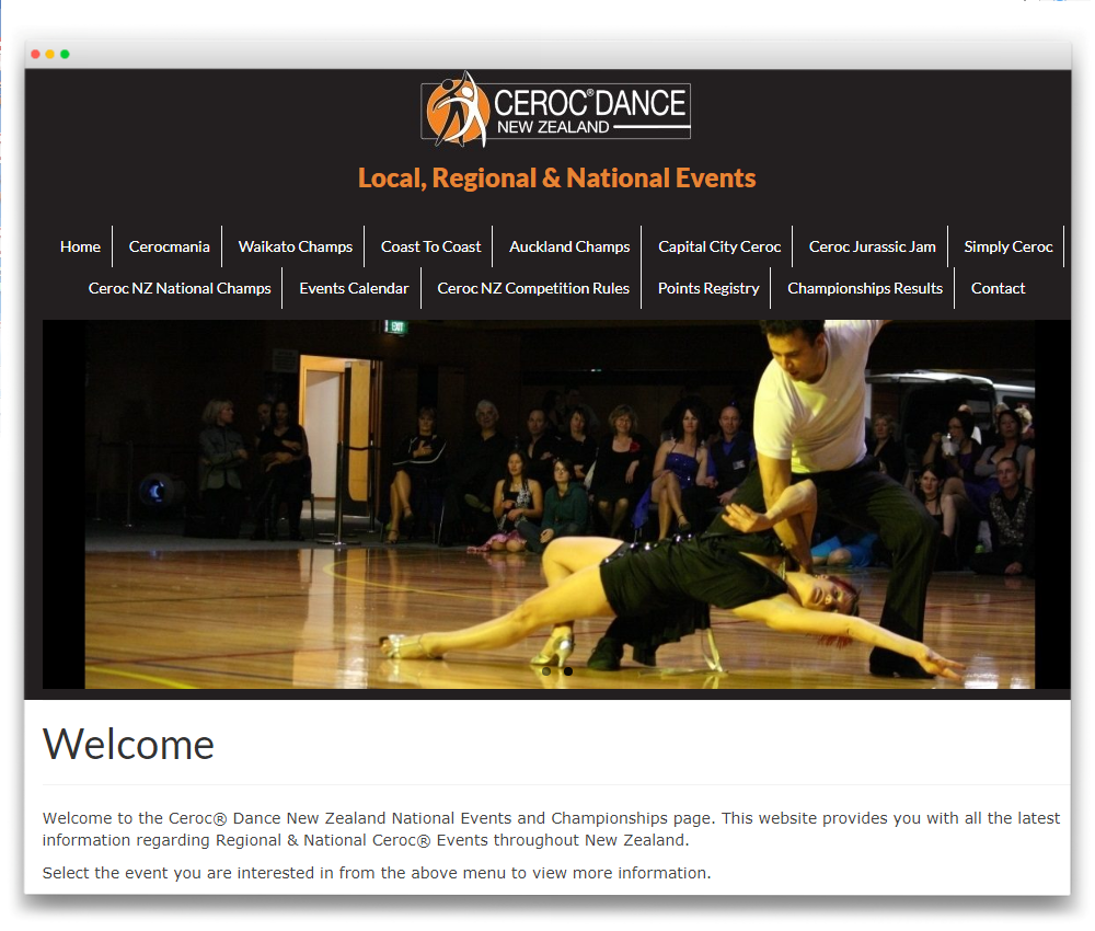 Ceroc Events NZ - Responsive WordPress website