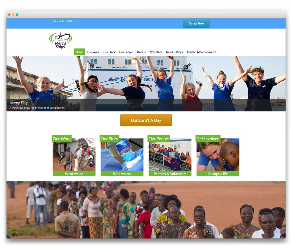 Mercy Ships NZ - Responsive WordPress website
