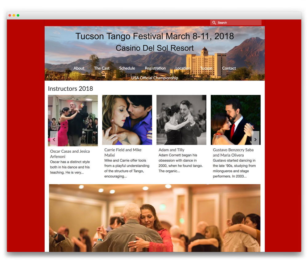 Tuscon Tango Festival - Responsive WordPress website