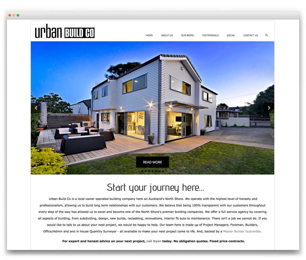 Urban Build Co - Responsive WordPress website